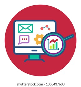 vector flat round monitor icon with buttons plus minus calculator, gears, graphics, magnifying glasses, conversation, chat, accounting automation symbol, optimization, revenue increase,