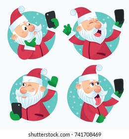 Vector flat santa claus set in christmas clothing making selfie. Holiday illustration isolated on a white background.Christmas sticker, avatar, card