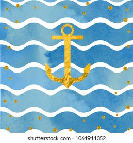 Vector flat sea seamless pattern watercolor background with anchor for wallpaper, textile, background