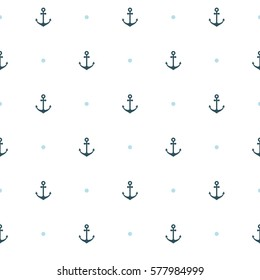 Vector flat sea seamless pattern background. Cute template with anchor