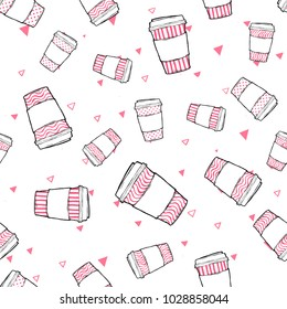 Vector flat seamless pattern - doodle take away coffee cup