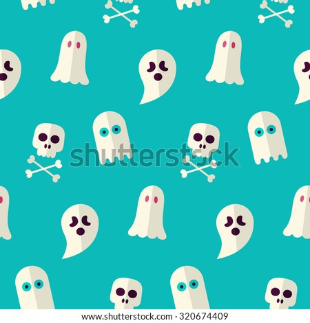 vector flat seamless scary ghost spirit stock vector royalty free