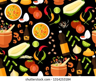 Vector flat seamless texture pattern Thai food papaya salad (Som Tum)