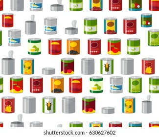 Vector flat seamless texture pattern canned food.