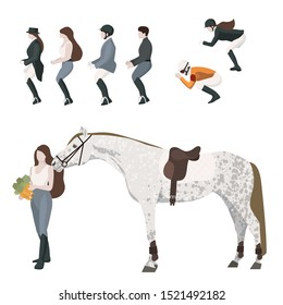 vector flat set construction of equestrian theme: horse orlov trotter with saddlery and riders in walk, competiton and race