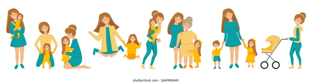 Vector flat set of mother's little activities. Funny situations of mom on maternity leave. Concept design of happy family Three generations together holding hands and smiling