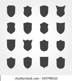 Vector Flat set of Shield Silhouette. Clip art Design Elements.Set of different Coat Arms signs