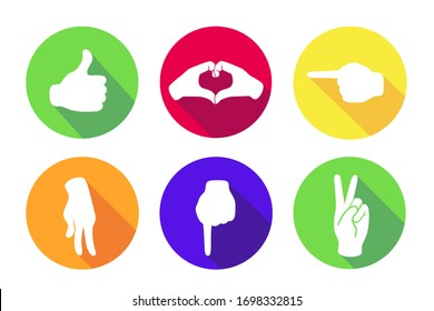 Vector flat set of six icons. Sign with hand.Communication symbol.White hand with gesture on green, red, yellow, orange, blue round background isolated on white.Web button. Mood sticker.Modern illustration