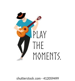 Vector flat simple friendly character isolated. Text message. Profession human icon. Person portrait. Musician icon. Man in hat, boy portrait. Music man standing with guitar. Guitarist, guitar player.