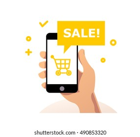 Vector flat simple illustration with human hand holding smartphone isolated on white background. Mock up. Online sale app. Good for black friday, cyber monday sale.