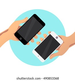 Vector flat simple illustration with human hand holding smartphone isolated on white background. Mock up. Good for app demonstration, web interface  screen illustration.