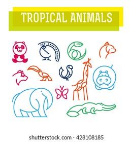 Vector flat simple minimalistic tropical animal logo. Animal icon, animal sign, symbol isolated on white background. Nature park, national zoo, pet shop logo, animal food store logo.