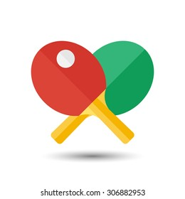 Vector flat simple ping-pong icon.  Sport illustration