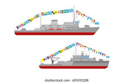 Vector flat small artillery ship and minesweeper ship icon set. Side view small artillery ship and minesweeper ship collection.