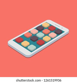 Vector flat smartphone with app icons set on coral color background. app development isometric design