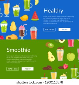 Vector flat smoothie elements web banner templates illustration. Website and page for site