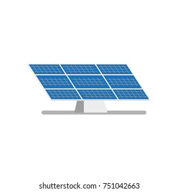 vector flat solar panel on solar power plant icon. Renewable alternative green bio eco energy resource. Isolated illustration on a white background.