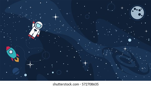 Vector flat space design background with text. Cute template with Astronaut, Spaceship, Rocket, Moon, Black Hole, Stars in Outer space