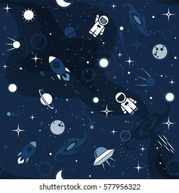 Vector flat space seamless pattern background. Cute template with Astronaut, Spaceship, Rocket, Moon, Black Hole, Stars in Outer space