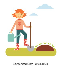 Vector flat spring concept. Red-haired girl with a shovel and a watering can makes planting in the garden
