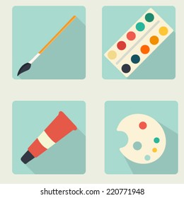 Vector flat stationery icon set