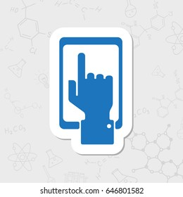 Vector flat sticker hand of the person with the phone on white background . Concept of communication in the network