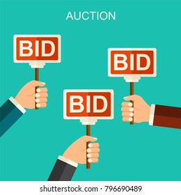 Vector flat style auction and bidding concept. Hands holding auction paddle. Flat vector illustration with hands and banners BID.