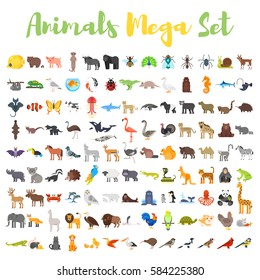 Vector flat style big set of animals: bear, cow, hedgehog, parrot, rabbit. Icon for web. Isolated on white background.