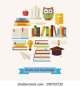 Vector Flat Style Books Education and Knowledge Colorful Objects Concept. Flat Design Vector Illustration. Collection of Wisdom Library and Reading Books. Set of School University and Learning Items.