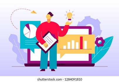 Vector flat style business and finance  design concept with big modern people, man  holding idea light bulb. Trendy brainstorming  illustration with cogs, graphs, diagrams, paper plane, leaves.
