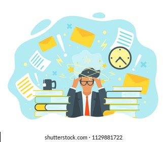 Vector flat style businessman having trouble with thinking. No idea concept. Man with the stars spinning around his head. Too many tasks and things to do in a short time.