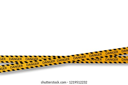 Vector flat style cartoon illustration isolated on background. Black and yellow stripes set. Warning tapes. Danger signs. Caution ,Barricade tape, Do not cross, police, scene barrier tape.Vector