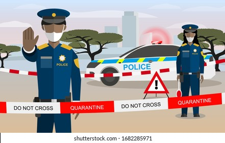 Vector Flat Style Cartoon Illustration Concept: Male and Female African Police Officers Guarding Closed City or Border in Africa Because of Corona Virus COVID-19 Infection Pandemic Quarantine.
