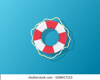 Vector flat style colored illustration of lifebuoy on blue background. SOS emergency.