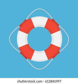 Vector flat style colored illustration of lifebuoy on blue background