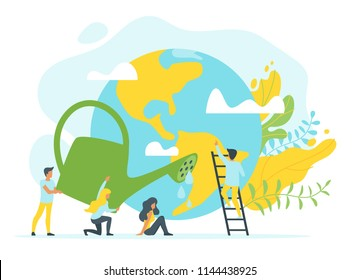 Vector flat style concept for environment protection and ecology. People in different poses around planet Earth. Man and woman holding watering can. Minimalism design with exaggerated objects.