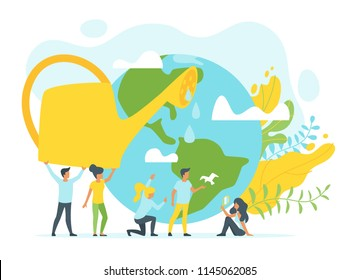 Vector flat style concept for environment protection and ecology. People holding big watering can. Planet Earth. Minimalism design with exaggerated objects. Floral elements at background.