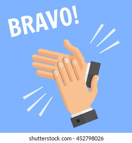 """Vector flat style concept of success illustration on blue background with text - """"bravo"""". Hands palm applause, clapping."""
