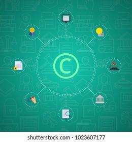 Vector flat style copyright elements infographic on gradient background with linear icons. Illustration of copyright protection padlock