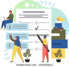 Vector flat style design illustration of young people students passing exam. Online test, questionnaire form, distance education, e-learning, survey, internet quiz concept for web banner, website page
