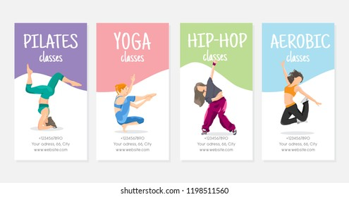 Vector flat style design template flyer. Four women in actions for four kind of courses: yoga, pilates, hip-hop dance and aerobic