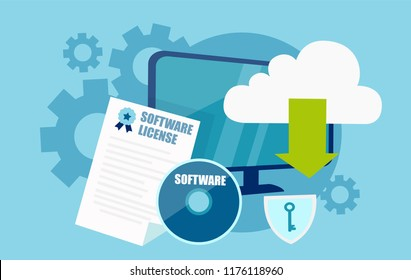 Vector flat style desing of software licensing concept