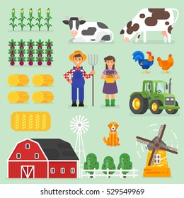 Vector flat style farming set. Farmers, cows and chickens. Isolated on green background. Icon for web.