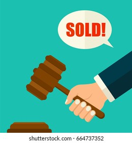 Vector flat style hand hitting wooden gavel in auction.Judge with hammer pattern. Auction concept.