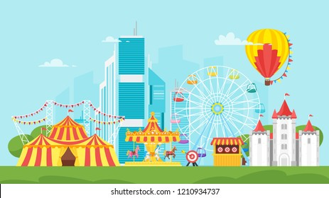 Vector flat style illustration of amusement park carnival for kids. Isolated on urban background. Funfair landscape with carousel, striped circus tent and air balloon in sky. horizontal composition.