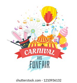Vector flat style illustration of amusement park carnival for kids. Isolated on white background. Funfair icons: air balloon, Ferris wheel and circus tent. Typography poster with decorative ribbon.
