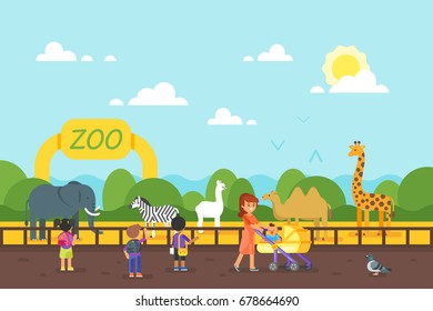 Vector flat style illustration of animals at the zoo. Kids are visiting zoo. Good sunny day.