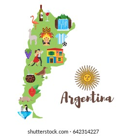 Vector flat style illustration of Argentina map with Argentinian national cultural symbols. Isolated on white background.