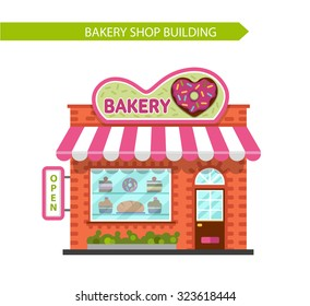 Vector flat style illustration of bakery shop building. Signboard with donut in heart shape. Isolated on white background.