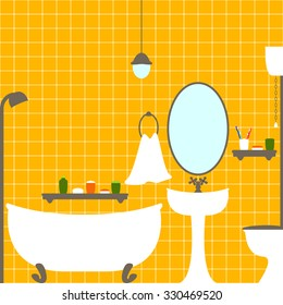 Vector flat style illustration of bathroom and water closet interior with orange ceramic tile wall, bathtub, big oval mirror, washstand, shelves with tubes, toothbrushes, towel, lamp on ceiling